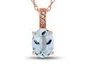 LALI Classics 14kt Rose Gold Aquamarine Oval Pendant Necklace