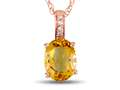 LALI Classics 14kt Rose Gold Citrine Oval Pendant Necklace