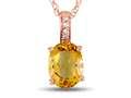 LALI Classics 14kt Rose Gold Citrine Oval Pendant Necklace