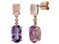 LALI Classics 14k Rose Gold Amethyst and Rose Quartz Oval Earrings