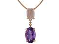 LALI Classics 14k Rose Gold Amethyst and Rose Quartz Oval Pendant Necklace 18 inch Chain