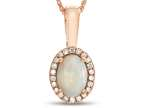 LALI Classics 14kt Rose Gold Opal Oval Pendant Necklace Style number: LALI1087