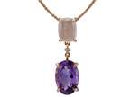 LALI Classics 14k Rose Gold Amethyst and Rose Quartz Oval Pendant Necklace 18 inch Chain Style number: LALI1095