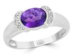 LALI Classics 14k White Gold  Bazel Set Amethyst Oval Ring Style number: LALI1101