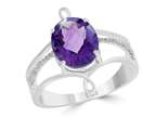 LALI Classics 14k White Gold 3 Bar Shank Amethyst Oval Ring Style number: LALI1103