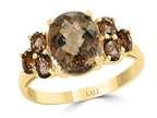 LALI Classics 14k Yellow Gold 7 Stone Smoky Quartz Oval Ring Style number: LALI1105
