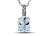 LALI Classics 14kt White Gold Aquamarine Oval Pendant Necklace style: LALI1014