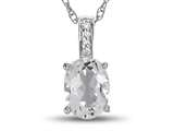 LALI Classics 14kt White Gold White Topaz Oval Pendant Necklace style: LALI1016