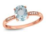 LALI Classics 14kt Rose Gold Aquamarine Oval Ring style: LALI1075