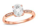 LALI Classics 14kt Rose Gold White Topaz Oval Ring style: LALI1076