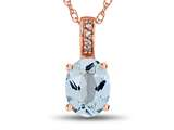 LALI Classics 14kt Rose Gold Aquamarine Oval Pendant Necklace style: LALI1081