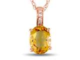 LALI Classics 14k Rose Gold Citrine Oval Pendant Necklace style: LALI1082