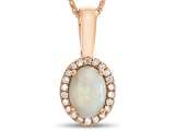LALI Classics 14kt Rose Gold Opal Oval Pendant Necklace style: LALI1087