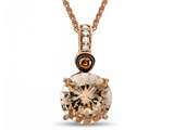LALI Classics 14k Rose Gold Morganite Round Pendant Necklace style: LALI1089