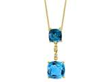 LALI Classics 14k Yellow Gold London and Swiss Blue Topaz Cushion Pendant Necklace 18 Inches Chain style: LALI1098