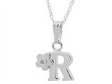"925 Sterling Silver Childrens Letter ""R"" Charm Pendant with Diamond on 14 Inch Chain style: 503426"