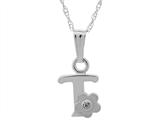 "925 Sterling Silver Childrens Letter ""T"" Charm Pendant with Diamond on 14 Inch Chain style: 503427"