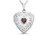 Finejewelers Sterling Silver Heart Locket Pendant Necklace with Genuine Garnet January Birthstone style: 503455