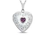 Finejewelers Sterling Silver Heart Locket Pendant Necklace with Genuine Amethyst February Birthstone style: 503456