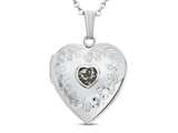 Finejewelers Sterling Silver Heart Locket Pendant Necklace with Genuine White Topaz April Birthstone style: 503457