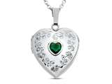 Finejewelers Sterling Silver Heart Locket Pendant Necklace with Genuine Emerald May Birthstone style: 503458