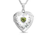 Finejewelers Sterling Silver Heart Locket Pendant Necklace with Genuine Peridot August Birthstone style: 503459