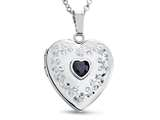 Finejewelers Sterling Silver Heart Locket Pendant Necklace with Genuine Sapphire September Birthstone style: 503460