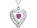 Finejewelers Sterling Silver Heart Locket Pendant Necklace Genuine Pink Tourmaline October Birthstone style: 503461