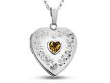 Finejewelers Sterling Silver Heart Locket Pendant Necklace with Genuine Citrine November Birthstone style: 503462