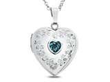 Finejewelers Sterling Silver Heart Locket Pendant Necklace Genuine Swiss Blue Topaz December Birthstone style: 503463
