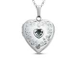 Finejewelers Sterling Silver Heart Locket Pendant Necklace with Genuine Aquamarine March Birthstone style: 503464