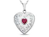 Finejewelers Sterling Silver Heart Locket Pendant Necklace with Created Ruby July Birthstone style: 503465