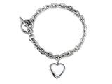 Sterling Silver Heart Charm Locket Toggle Bracelet style: 50DB5