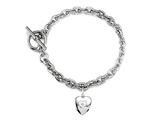 Sterling Silver Heart Charm Toggle Bracelet style: 50DB9