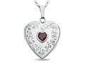 Finejewelers Sterling Silver Heart Locket Pendant Necklace with Genuine Garnet January Birthstone