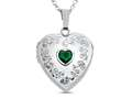 Finejewelers Sterling Silver Heart Locket Pendant Necklace with Genuine Emerald May Birthstone