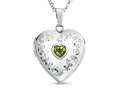 Finejewelers Sterling Silver Heart Locket Pendant Necklace with Genuine Peridot August Birthstone
