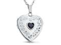 Finejewelers Sterling Silver Heart Locket Pendant Necklace with Genuine Sapphire September Birthstone