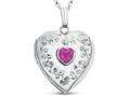 Finejewelers Sterling Silver Heart Locket Pendant Necklace Genuine Pink Tourmaline October Birthstone