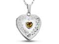 Finejewelers Sterling Silver Heart Locket Pendant Necklace with Genuine Citrine November Birthstone