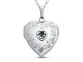 Finejewelers Sterling Silver Heart Locket Pendant Necklace with Genuine Aquamarine March Birthstone