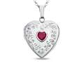 Finejewelers Sterling Silver Heart Locket Pendant Necklace with Created Ruby July Birthstone