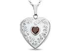 Finejewelers Sterling Silver Heart Locket Pendant Necklace with Genuine Garnet January Birthstone Style number: 503455