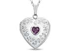Finejewelers Sterling Silver Heart Locket Pendant Necklace with Genuine Amethyst February Birthstone Style number: 503456