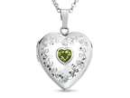 Finejewelers Sterling Silver Heart Locket Pendant Necklace with Genuine Peridot August Birthstone Style number: 503459