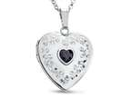 Finejewelers Sterling Silver Heart Locket Pendant Necklace with Genuine Sapphire September Birthstone Style number: 503460