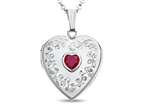 Finejewelers Sterling Silver Heart Locket Pendant Necklace with Created Ruby July Birthstone Style number: 503465