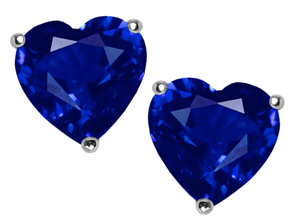 saphire blue created earrings cut stud sapphire peora gold heart shape yellow carats
