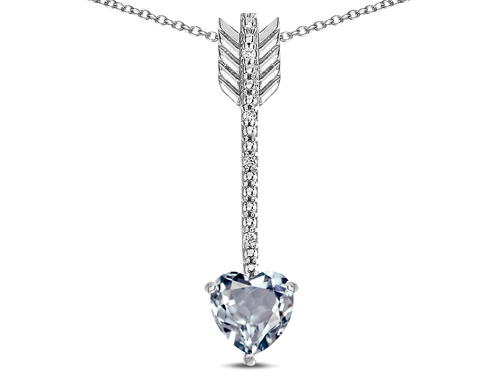Star K 6mm Aquamarine Heart Arrow Bar Pendant Necklace 316314 Finejewelers Com Shooting straight to target, this sturdy silver arrow pendant from first arrows' has been carefully crafted in. finejewelers com