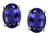Tommaso Design™ Oval 8x6 mm Genuine Iolite Earrings Studs style: 21765
